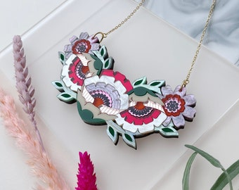 Isobel Floral Bib Necklace in Sunset | Retro Flower Necklace | Laser Cut Floral Jewellery