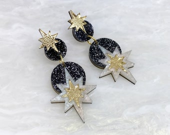 Star Deco Drop Earrings: Black Glitter | Laser Cut Star Earrings | Celestial Art Deco | Lightweight Dangle Earrings | Marble Perspex Acrylic