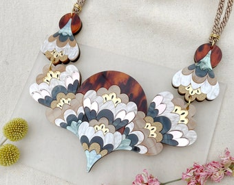 Crocus Statement Necklace in Pearl | Retro Flower Bib Necklace | Laser Cut Floral Jewellery