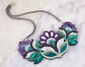 Flora Garland Statement Bib Necklace: Mermaid Colourway | Festival Flower Necklace | Retro Vintage Floral Laser Cut Jewellery | Purple Blue