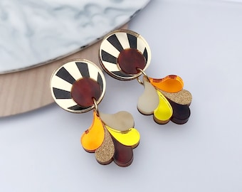 Sunset Statement Earrings | Laser Cut and Engraved Retro Statement Earrings in Sunshine Colourway