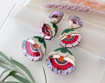 Isobel Floral Triple Drop Statement Earrings in Sunset | Retro Flower Drop Earrings | Laser Cut Floral Jewellery