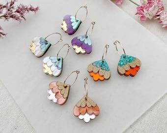 Crocus Mini Hoop Earrings | Retro Flower Hoops | Laser Cut Floral Jewellery
