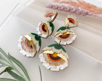 Isobel Floral Triple Drop Statement Earrings in Caramel | Retro Flower Drop Earrings | Laser Cut Floral Jewellery