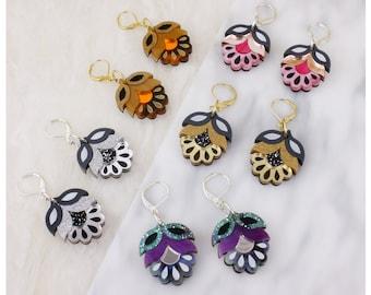 Flora Drop Earrings | Retro Flower Laser Cut Earrings | Gift Ideas | Lightweight Earrings | Acrylic Perspex Wood | Gold Silver Rose Gold
