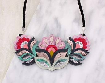 Flora Garland Statement Bib Necklace: Sunset Colourway | Festival Flower Necklace | Retro Vintage Floral Laser Cut Jewellery Pink Rose Gold