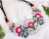 Flora Garland Large Statement Necklace: Sunset Colourway | Festival Flower Necklace | Retro Floral | Laser Cut Jewellery | Pink Rose Gold