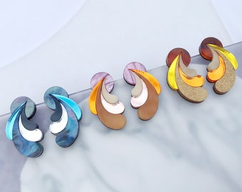 Psychedelic Wave Statement Studs | Laser Cut Retro Earrings in Pink, Tortoiseshell or Blue