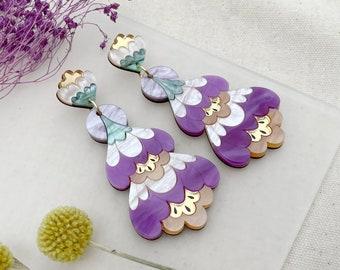 Crocus Statement Earrings in Purple | Retro Flower Drop Earrings | Laser Cut Floral Jewellery
