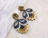 Flora Statement Earrings: Gold Colourway | Laser Cut Festival Floral Earrings | Retro Vintage Flower |Acrylic Perspex Wood Jewellery Glitter