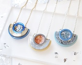 Pastel Colours. Segment Pendant Necklace: Resin Laser Cut Engraved Geometric Circle.Acrylic, Marble Swirl.Blue Gold Leaf Peach Silver Copper