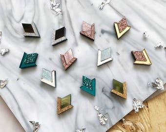 New Colours: Diamond Segment Stud Earrings. Laser Cut Acrylic Perspex. Marbled Geometric Deco Chevron Mirror Rose Gold Marble Copper Glitter