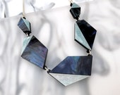 Asymmetric Geo Necklace : Midnight Marble & Blue Frost Glitter   Laser Cut Statement Necklace   Acrylic Perspex   Geometric Chunky Silver