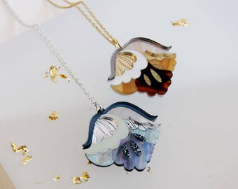 Nouveau Flower Pendant Necklace. Mother-of-Pearl / Tortoiseshell Laser Cut Acrylic Perspex. Marble Floral Art Deco Retro Silver Gold Glitter