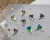 Etched Chevron Stud Earrings: Resin Laser Cut Engraved Geometric. Acrylic Perspex Wood Holographic Iridescent Copper Silver Turquoise Bronze