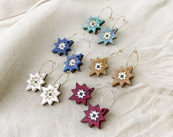 Mini Star Hoop Earrings | Laser Cut Star Earrings | Celestial Art Deco