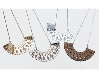 Engraved Arc Necklace. Laser Cut Etched Patterned Mirror Acrylic / Wood. Art Deco Scalloped Cutout. Gold Silver Bronze. Bib Collar Crescent.