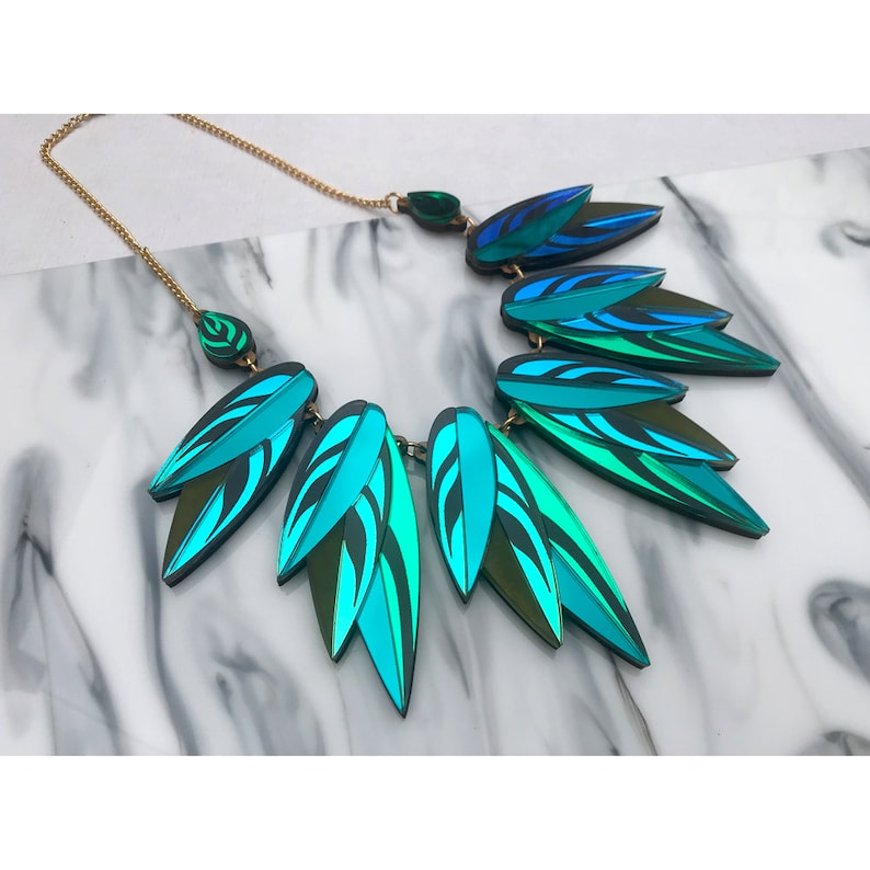 Tropical Leaf Jewellery Laser Cut Engraved Perspex Acrylic Wood Green /& Iridescent Calathea Leaf Large Statement Necklace : Teal