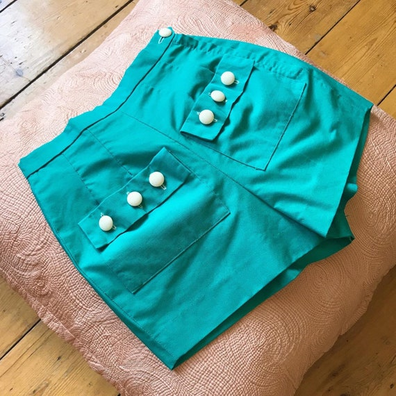 Vintage 1950s Sportaville turquoise button pocket