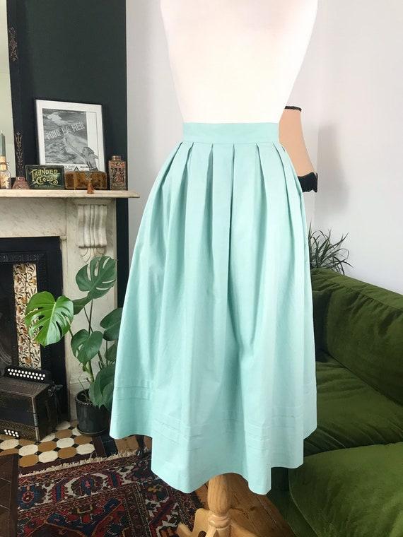 "Laura Ashley pastel mint prairie skirt - 29"" waist"