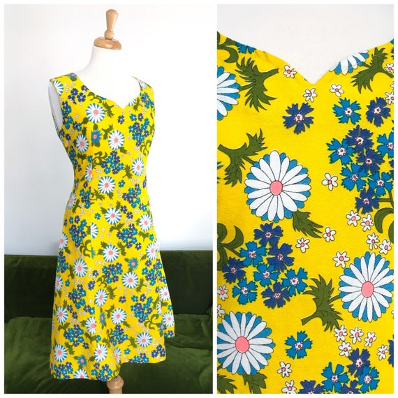 Vintage 1960s daisy print cotton dress - UK 12-14