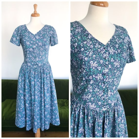 Laura Ashley blue and green floral dress