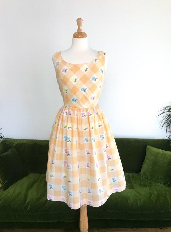 1950s/60s peach gingham dress