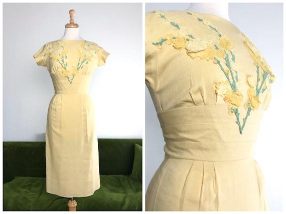 Vintage 1950s 'Pat Premo' lemon yellow linen with