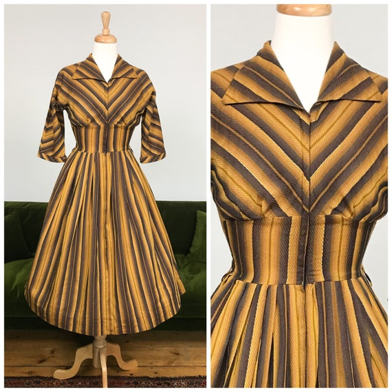 Vintage 1950s zip front chevron dress - UK 10
