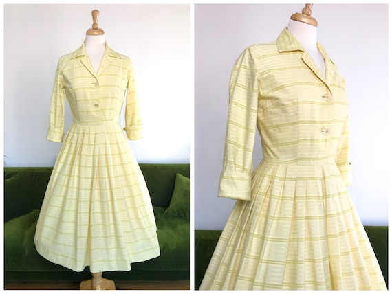 Vintage 1950s lemon yellow cotton shirt dress - UK