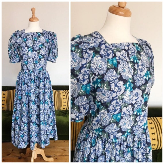 Laura Ashley blue floral dress - small