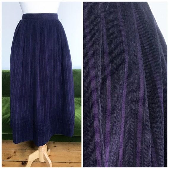 Laura Ashley purple patterned needlecord skirt - M