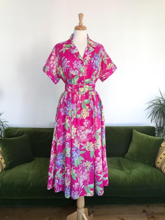 Laura Ashley belted pink floral dress