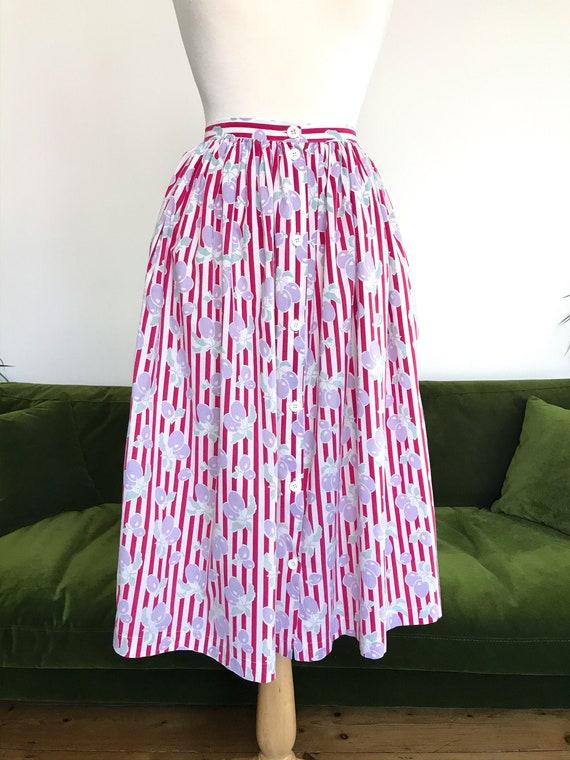 Laura Ashley fruit and stripes skirt
