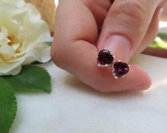 Faceted Amethyst Post Amethyst 6mm Stud February Gift Semi-precious Gemstone Studs,February Birthstone Earrings Sterling Silver Earrings