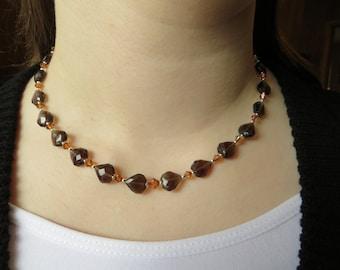 Smoky Quartz Heart Necklace, Swarovski Necklace, Heart Necklace, Valentine Necklace, Valentine Gift, Crystal Necklace, Brown Beaded Necklace