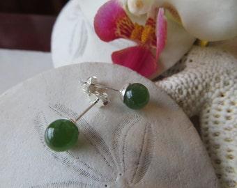 Nephrite Jade Earrings, Jade Studs, Jade Earrings, Nephrite Jade Studs, Semi Precious Gemstone Posts, Sterling Silver Earrings, Silver Studs