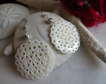 Hand Carved Bone Earrings, Filigree Earrings, Ivory Earrings, Sterling Silver Earrings, Dangle Earrings, White Bone Large Statement Earrings