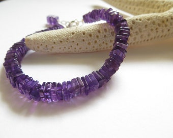Friendship Bracelet, Dark Purple Amethyst Bracelet, February Birthstone Bracelet, Semi Precious Gemstone Bracelet, Sterling Silver Bracelet