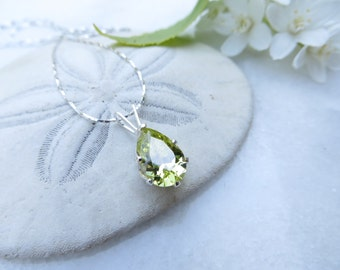 August Birthstone Necklace, Mother's Day Necklace, Peridot Green Necklace, Sterling Silver Necklace, Cubic Zirconia Necklace, CZ Birthstone