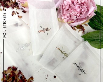 "50  5""x3"" peel&seal confetti rose petal wedding favour gift cookie packets bags Celebration & Occasion Supplies"