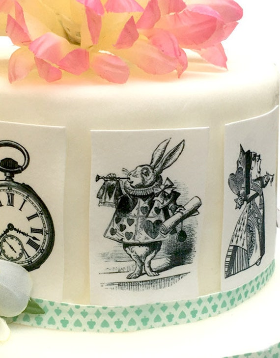 10 Alice in Wonderland Cup Cake Toppers Mad Hatters Tea party wedding B