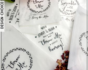 Glassine self seal  Confetti Bags x 10   Bride & groom  Wedding favours     Personalise for FREE *