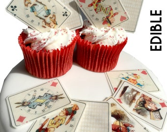 Alice in wonderland Edible Wafer Card Stand up Cake & Cupcake Decorations x 25