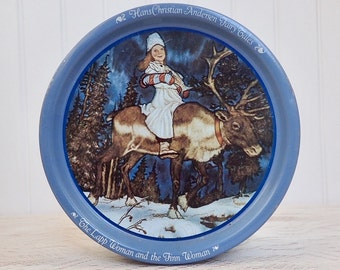 Christmas Blue Lappland Vintage Tin Fairy Tale Canister Hans Christian Anderson Cookie Jar Container Trinket Tin Kitchen Decor
