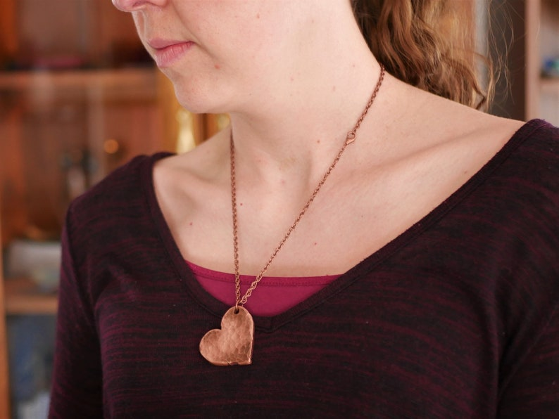 Hammered Heart Pendant Love 7th Hand Forged Copper Heart Necklace 7 Year Anniversary Gift for Women or Her Handmade Copper Necklace