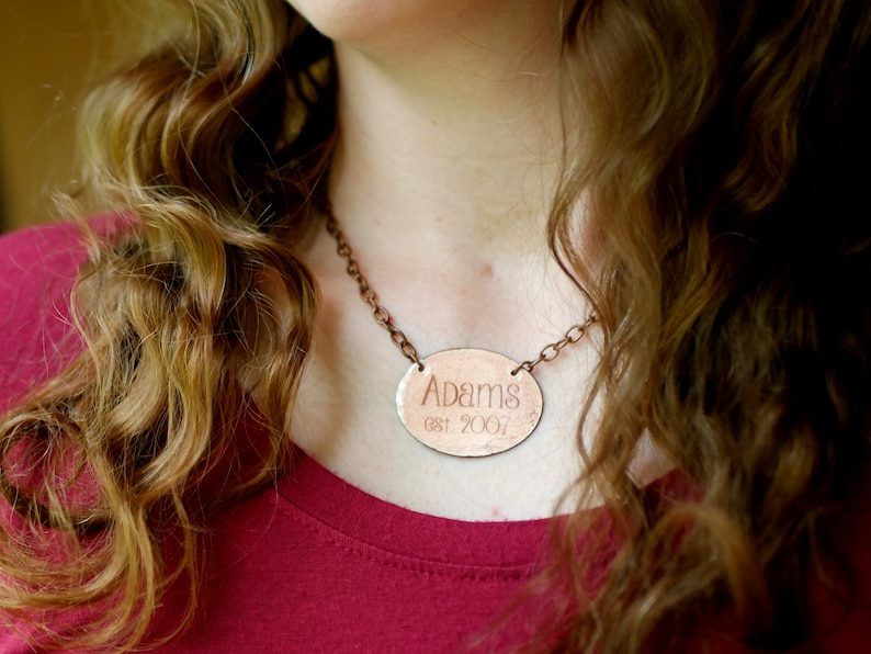 7th Anniversary Traditional Gifts for Her Customized Copper Necklace Copper Anniversary Gifts 7 Year Anniversary Gift for Women