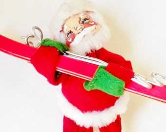 Vintage Annalee Skiing Santa / Christmas / Skis / Skier / Red /  Decoration / 1970 / Mid Century / Mobilitee Doll/ Cabin Xmas Decor