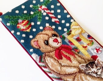 Vintage  Needlepoint Stocking / Christmas / Teddy Bear / Cat/ Velvet / Holiday / Wool