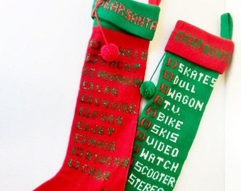 Vintage Christmas Stocking / Dear Santa / Christmas List / Knit / Knitted / Christmas / Holiday / Retro / Pair / Set / His and Hers
